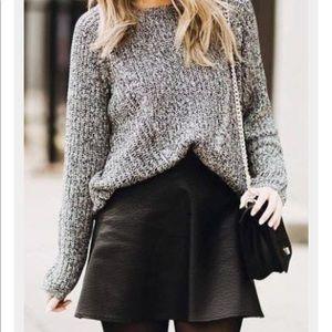 H&M black high waisted leather skirt